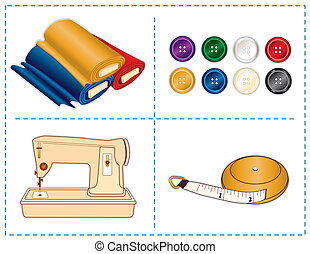 Sewing Tools, Jewel colors - Sewing machine, tape measure, ...