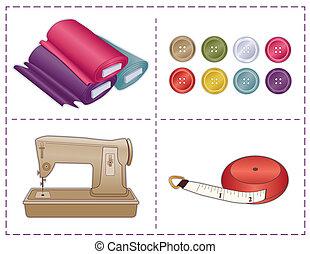 Sewing Tools, Pantone colors - Sewing machine, tape measure,...