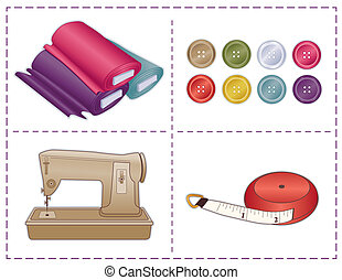 Sewing Tools, Pantone colors - Sewing machine, tape measure,...