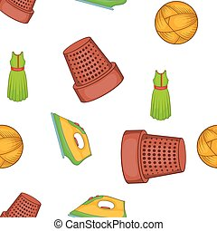Sewing tools pattern, cartoon style