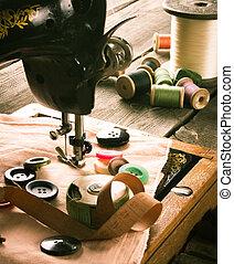 sewing., varrógép, és, tools.