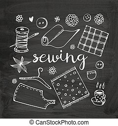 Sewing vector doodle set