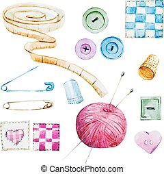 Sewing watercolor items - Beautiful vector image with nice...
