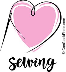 Sewing with needle. Vector hand made symbol in trendy line style.