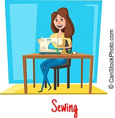 Sewing woman in vector atelier or dressmaker salon
