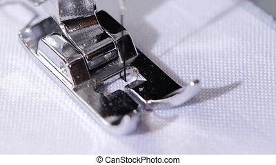 Sewing zigzag close. Sewing process. Slow motion - Sewing...