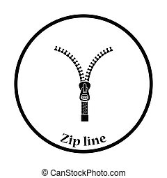 Sewing zip line icon