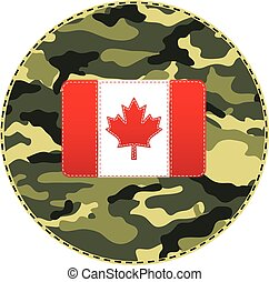Sewn Canada flag on camouflage texture. Vector
