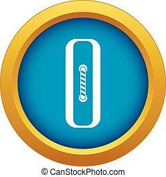Sewn rectangular button icon blue vector isolated