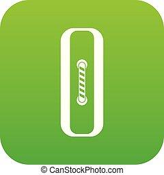 Sewn rectangular button icon digital green