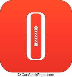 Sewn rectangular button icon digital red