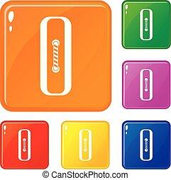 Sewn rectangular button icons set vector color
