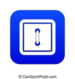Sewn square button icon digital blue