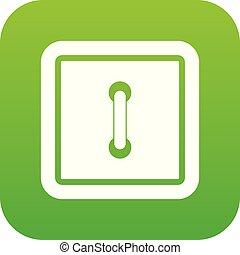 Sewn square button icon digital green