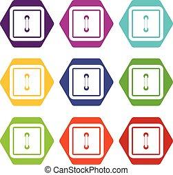 Sewn square button icon set color hexahedron
