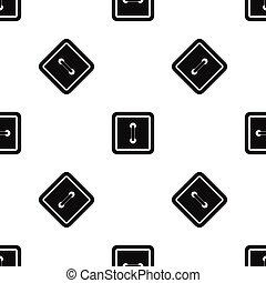 Sewn square button pattern seamless black