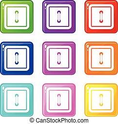Sewn square button set 9