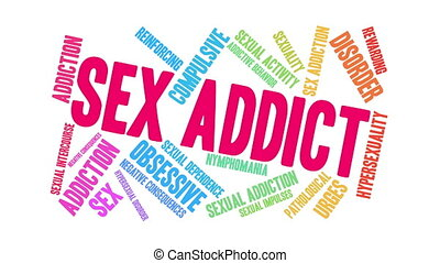 Sex Addict word cloud on a white background.