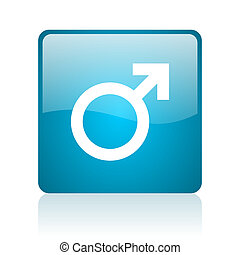 sex blue square web glossy icon