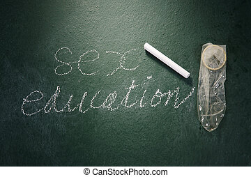 sex education - stock image of the condom in front of...