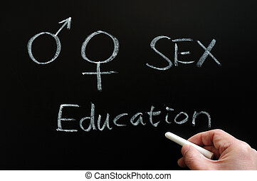 Sex education with gender symbols written on a blackboard