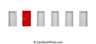 sex, -, en, dörrar, fodra, röd