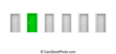 sex, -, en, grön, dörrar, fodra