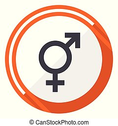 Sex flat design vector web icon. Round orange internet button isolated on white background.