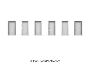 sex, grå, dörrar