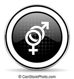 sex icon, black chrome button, gender sign