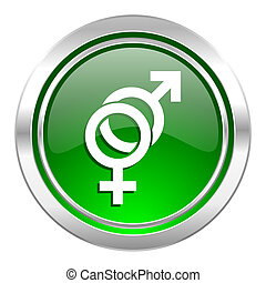 sex icon, green button, gender sign