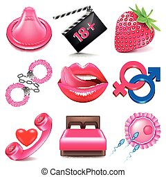 Sex icons vector set - Sex icons detailed photo realistic...