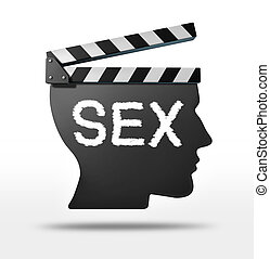 Sex movies and erotic film concept with a movie equipment ...