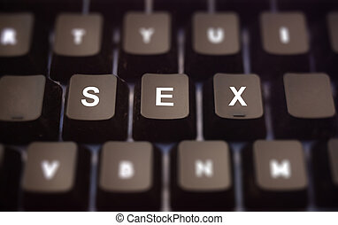 Sex online concept. Sex text written on keypad. Black keys with white letters message for cybersex on pc keyboard. Blur buttons background.