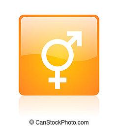 sex orange square glossy web icon
