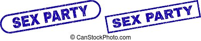 SEX PARTY Blue Rectangle Watermark with Unclean Style