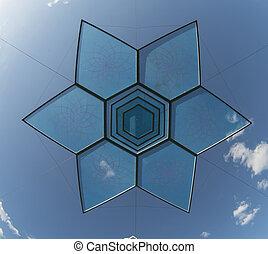 sex pekade, stjärna, design, objekt, över, blåttsky