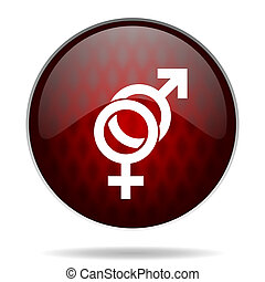 sex red glossy web icon on white background