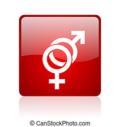sex red square glossy web icon on white background