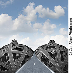 Sex road concept with a group of tangled roads and highways in the shape of large female breasts and nippleswith a paved street going into perspective on a summer sky as an icon of sexual obsession therapy or infidelity social issues.