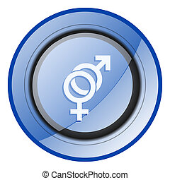Sex round blue glossy web design icon isolated on white background