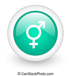sex round glossy web icon on white background