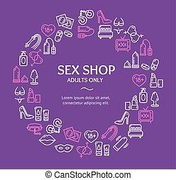 Sex Shop Round Design Template Line Icon Concept. Vector -...