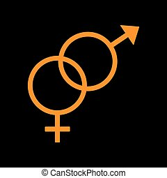 Sex symbol sign. Orange icon on black background. Old phosphor monitor. CRT.