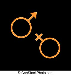 Sex symbol sign. Orange icon on black background. Old phosphor monitor. CRT.