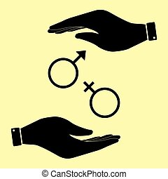 Save or protect symbol by hands. - Sex symbol sign. Save or...