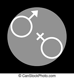 Sex symbol sign. White icon in gray circle at black background.