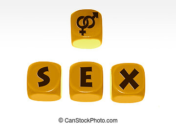 Sex symbol with word SEX on cubes