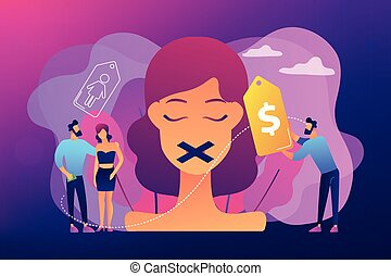 Sex trafficking concept vector illustration. - Woman with...