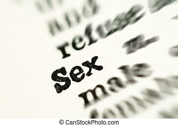 Sex word in dictionary - Extreme closeup on sex word in...